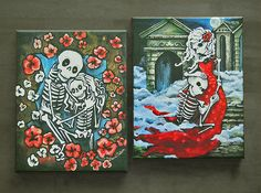 CHOOSE ANY 2 Canvas Art Prints 11x14 Day of the Dead Gothic Decor Kitchen Catrina, Romantic Couple, Wedding Skeleton. Dia de los Muertos Art