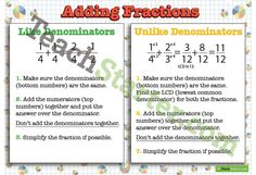 Addition and Subtraction of Fractions Posters Teaching Resource