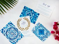 Santorini Custom Watercolour Mediterranean by CocoGoldBride