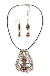 Single-Strand Necklace and Earring Set with Glass Rhinestone Chatons Delica Seed Beads and Gold-Finished Pewter and Enamel Charms
