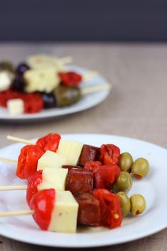 Chorizo Tapas Skewers + 3 EASY ways to Roast Bell Peppers! - Dinner, then Dessert Chorizo, Girls Night Appetizers, Tapas, Skewer Appetizers, Manchego Cheese, Stuffed Olives, Stuffed Peppers, Party Snacks, Skewers