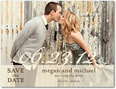 Save the Date Postcards Sheer Script - Front : Almond - love this style. We need an engagement photo like this.