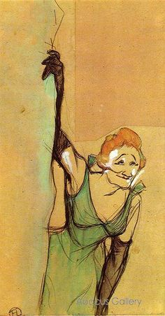 Henri Toulouse Lautrec - Yvette Greeting the Audience 1894.     Love Lautrec prints for a long time now.
