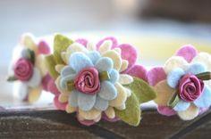 Wool Felt Flower Garland Style Headband Shades Pink door bloomz, $14.75