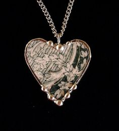 Broken China Jewelry Heart Pendant necklace ivy antique teal English transferware