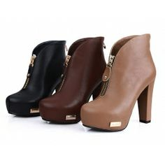 Round Toe Waterproof boots w high heel and metal zipper (In 3 Colors) $49