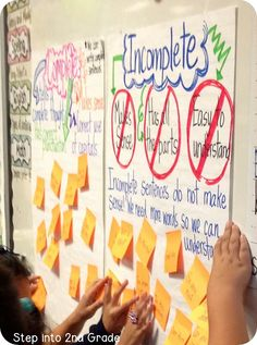 This week we are focusing on complete and incomplete sentences. I made these anchor charts, gave the kids sticky-notes with sentences on them, and had my students put their sticky note where it belonged. This got them up and moving which always helps our Teaching Grammar, Teaching Language Arts, Classroom Language, Teaching Writing, Teaching Tips, Grammar Activities, Math Writing, Writing Centers, Reading Activities