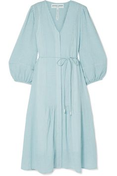 APIECE APART - Laguna Belted Striped Organic Cotton-voile Midi Dress - Sky blue