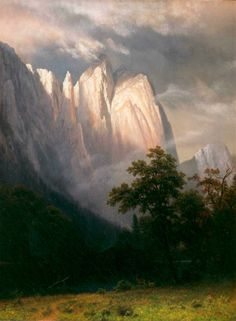 """Cathedral Rocks, Yosemite,"" Albert Bierstadt, 1870, oil on panel, 23.6 x 17.7"", Marsh - Billings - Rockefeller National Historical Park."
