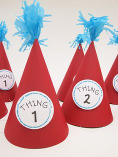 Dr. Seuss Thing 1 Thing 2 #party hats!    It would be cute to write the # of what guest they are to arrive on the hat!