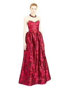 Rose Striped Jacquard Organza Strapless Gown Oscar de la Renta 2015