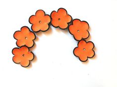 Pumkin cabochon flowers Leather flowers by HMCreativeSupplies, $5.99