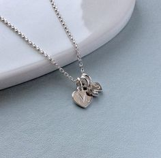 Sterling silver initials necklace, small letter charms, dainty birthday gift for mum Sterling Silver Initial Necklace, Sterling Silver Chains, Mum Birthday Gift, Presentation Cards, Clean And Shiny, Small Letters, Letter Charms, Small Heart, Gifts For Mum