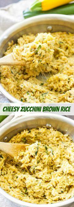 Cheesy Zucchini Brown Rice | Whole grain, gluten free, vegetarian and loaded…