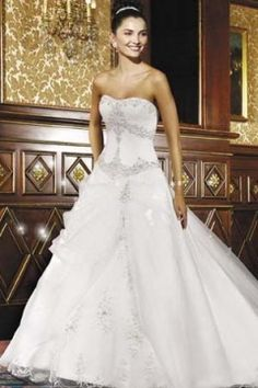 New Corset Bodice UK Style 2013 A-Line Wedding Dress With Cathedral Train