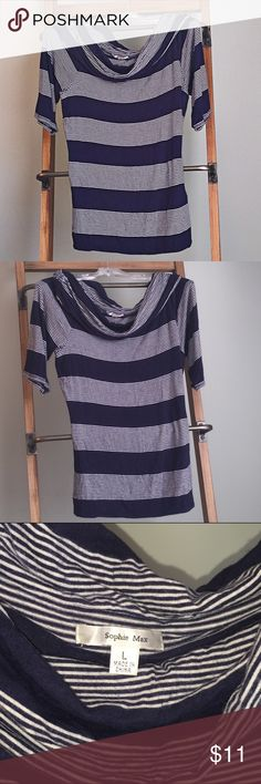 Sophie Max top. Navy blue stripped top. Cowl neck. 3/4 sleeve. Lightweight cotton fitted top. Sophie Max Tops