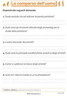 Esercizi sulla comparsa dell'uomo 4 School, Gaia, Languages, Cl, Geography, Idioms