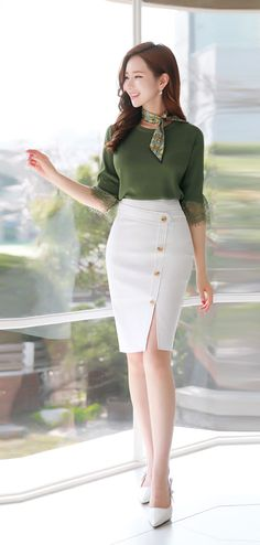 Slim Fit Button Decoration Front Slit Pencil Skirt - Styleonme
