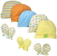 13c5d0118c4 Gerber Unisex-Baby Newborn Frogs And Ducks Cap And Mitten Bundle