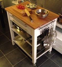 IKEA Hackers: Stenstorp Kitchen Trolley Deluxe for small kitchen Kitchen Island Ikea Hack, Diy Kitchen, Kitchen Decor, Kitchen Islands, Ikea Kitchen Trolley, Ikea Trolley, Moveable Kitchen Island, Ikea Cart, Kitchen Organization