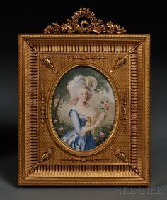 "Framed Oval Portrait Miniature on Ivory, France, 19th century, depicting Marie Antoinette after the portrait by Louise Elizabeth Vigee Le Brun, signed ""Castex,"" in a gilt-bronze frame cast with a floral crest."