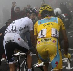 Andy Schleck and Alberto Contador at Tourmalet