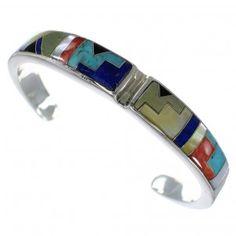 Southwest Sterling Silver Multicolor Heavy Cuff Bracelet CX49763