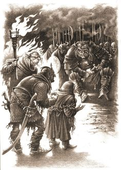 Dwarves brought before the Goblin King by Roman Pisarev. The Hobbit. Completed in pencil. New Fantasy, High Fantasy, Hobbit Art, The Hobbit, Elf Man, Fanart, Tolkien Books, Goblin King, Illustrations