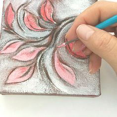 Leaves in pink, a minimalist painting
