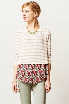 Layered Ginny Pullover #anthropologie VF sweatshirt w/floral layered look