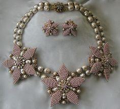DeMario Huge Glass Pearls & Rhinestones 2 Strand Necklace & Earrings Demi Parure