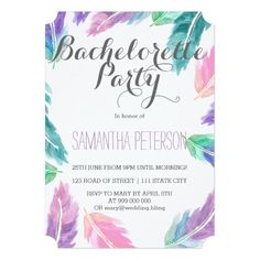 Painted watercolor feathers bachelorette party card