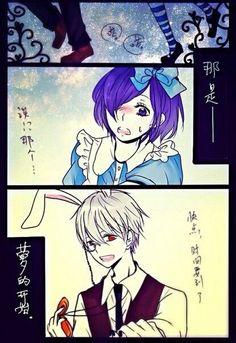 """Antes achei que teria que ser ao contrario já que a Touka é conhecida como """"rabbit"""",mas daí percebi que o Kaneki não ia dar muito bem de Alice shasahshsjsjajaha"""