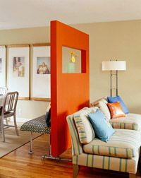 Freestanding Divider Wall - something similar would work well in our basement