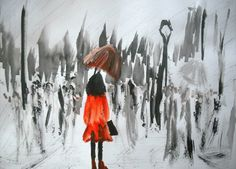Girl In Red Raincoat Umbrella Fine Art Print Of Acrylic Painting