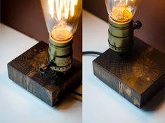 A wooden lamp designed for retro EDISON light bulbs. Made particularly for wood original texture appreciators! We only use recycling wood, no trees were harmed during the making of this product :) Tot Wooden Desk Lamp, Table Lamp Wood, Wood Lamps, Lampe Retro, Retro Lamp, Edison Lighting, Retro Lighting, Lampe Edison, Edison Bulbs