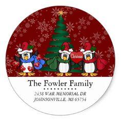 Round Christmas Penguins Address Labels - Xmas ChristmasEve Christmas Eve Christmas merry xmas family kids gifts holidays Santa