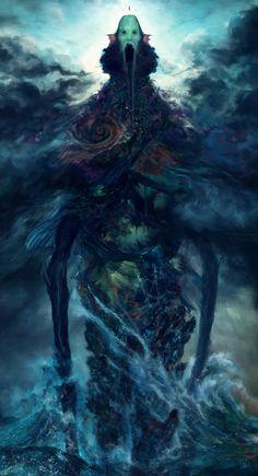 Poseidon's Wrath Artwork by Tsad De Lira Dark Fantasy Art, Fantasy Artwork, Dark Creatures, Magical Creatures, Fantasy Creatures, Fantasy Monster, Monster Art, Creature Concept Art, Creature Design