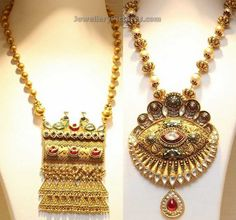 Gold Balls Chains Designs with Antique Pendants - Jewellery Designs Gold Bridal Jewellery Sets, Gold Jewellery Design, Antique Gold Rings, Rajputi Jewellery, Gold Ring Designs, Jewelry Illustration, Gold Set, Pendant Jewelry, Clover Necklace