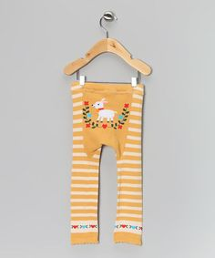 Take a look at this Tan & White Stripe Lamb Leggings - Infant & Toddler by Penny & Tillie on #zulily today!