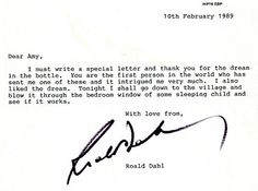Roald Dahl thanks a seven-year-old girl who sent him one of her dreams in a bottle. | 11 Letters That Will Melt Your Heart