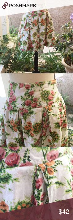 "Anthropologie Floral Skirt Midi Fit Flare Odille 2 🍃 This skirt is precious, wide waist, full pleated skirt. Lined in cotton, and side zipper. Odille from Anthropologie. Crocheted scalloped trim at the hem. Throw on a great top, sandles or wedges and you are ready for brunch, date night, party, or a wedding. Womens size 2.   🍃Approx measurements  🌸 Waist-30"" 🌸 Length-21""  🍃🍃🍃🍃🍃🍃🍃🍃🍃🍃  🌸 Fabric-100% lightweight cotton 🌸 Condition-Great condition, no holes or stains 🌸  Boho…"