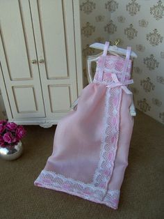 dollhouse pink silk nightdress. Display. 1/12th by Buyminiart