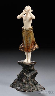 Dominique Alonzo Art Nouveau Bronze and Ivory Figure of a Girl Shouting. Art Nouveau, Plastic Art, International Style, Art Deco Period, Gourd Art, Art Deco Fashion, Sculpture Art, Cool Art, Ivory