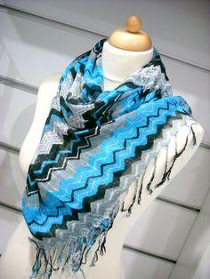 Blue Black White Zigzag Pashmina , Shawl, Pashmina Scarf,  Wrap, Gift, Scarf, Scarflette. $15.00, via Etsy.