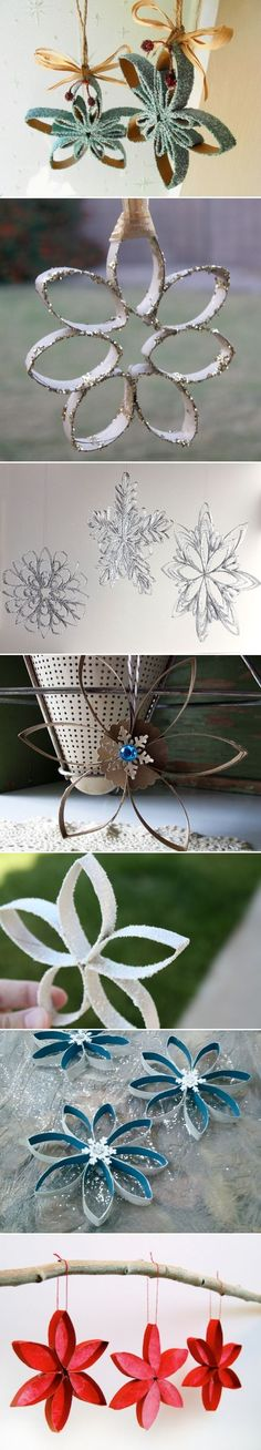 Toilet Paper Roll Snowflakes! Cheap, easy & pretty. Third from the bottom, in my colors as wedding decor?