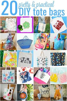 20 pretty & practical diy tote bags round-ups Diy And Crafts Sewing, Crafts For Girls, Sewing Projects, Diy Crafts, Fabric Bags, Fabric Scraps, Scrap Fabric, Recycled Fabric, Diy Tote Bag