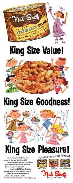 Nut Shelf advertisement, September Nuts for nuts! Old Advertisements, Retro Advertising, Retro Ads, Vintage Ads, Vintage Food, 1950s Ads, Retro Food, Retro Cartoons, Vintage Style