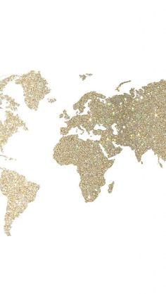 キラキラゴールド世界地図iPhone壁紙 iPhone 5/5S 6/6S PLUS SE Wallpaper Background