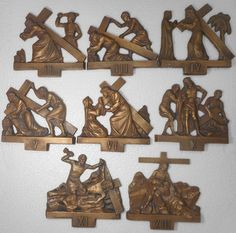 Vintage Bronze Christ 8 Stations from of 14 Stations of The Cross 70 years old